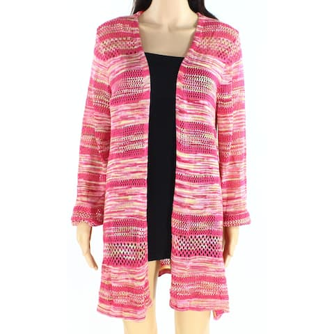 John Paul Richard Womens Sweater Pink Size Large L Open Front Cardigan