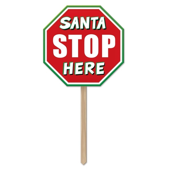 "Pack of 6 ""Santa Stop Here"" Christmas Sign Outdoor Decorations 36"""