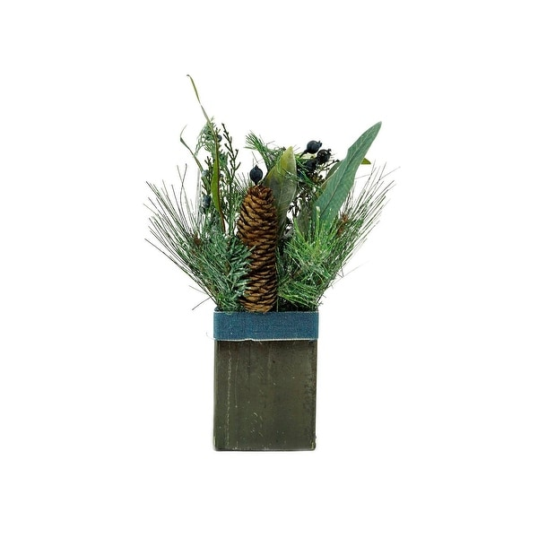 "13"" Square Potted Frosted Blueberry and Pine Artificial Christmas Arrangement"