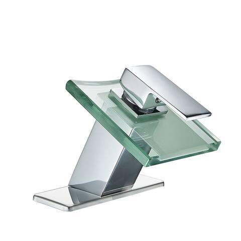 Vibrantbath Glass Waterfall Spout Bathroom Sink Faucet Chrome