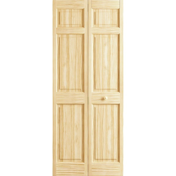 """Frameport BI-D6P-6-2/3X2-2/3-H 32"""" by 80"""" Double Hip 6 Panel Interior Bifold Door with Installation Hardware - Unfinished"""