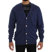 PAOLO PECORA Milano Blue Linen Cotton Full Button Cardigan Sweater