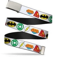 Blank Chrome Buckle Justice League Superhero Logos Close Up White Web Belt