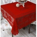 Tablecloth Grega Design Brazilian Lace 59x59 Inches Red Color 100 Percent Polyester - Thumbnail 0