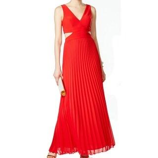 Xscape NEW Red Women's Size 12 Empire Waist Cutout Pleated Dress