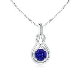 Angara Round Tanzanite Infinity Knot Necklace in 14k White Gold