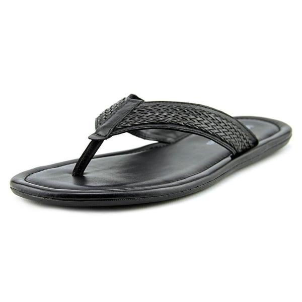 Winthrop Branson Men  Open Toe Leather Black Thong Sandal