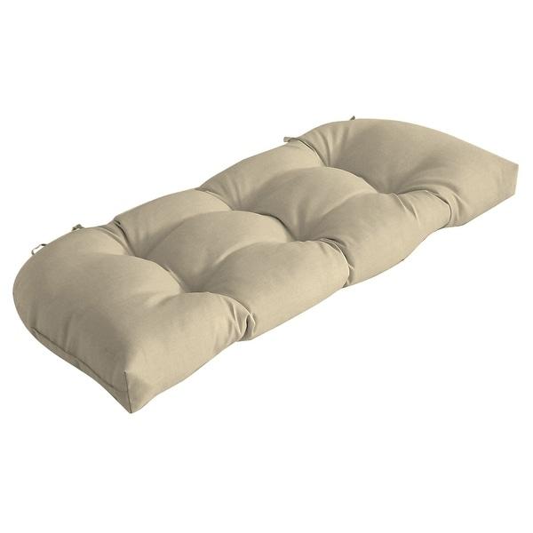 Arden Selections New Tan Leala Texture Wicker Settee Cushion - 18 in L x 41.5 in W x 5 in H. Opens flyout.