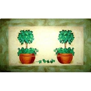Custom Printed Rugs AWV083 Topiary Pot Doormat Rug Green - 18 x 30 in.