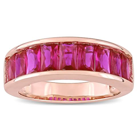 Miadora Rose Plated Sterling Silver Baguette-cut Created Ruby Semi-Eternity Anniversary Band Ring