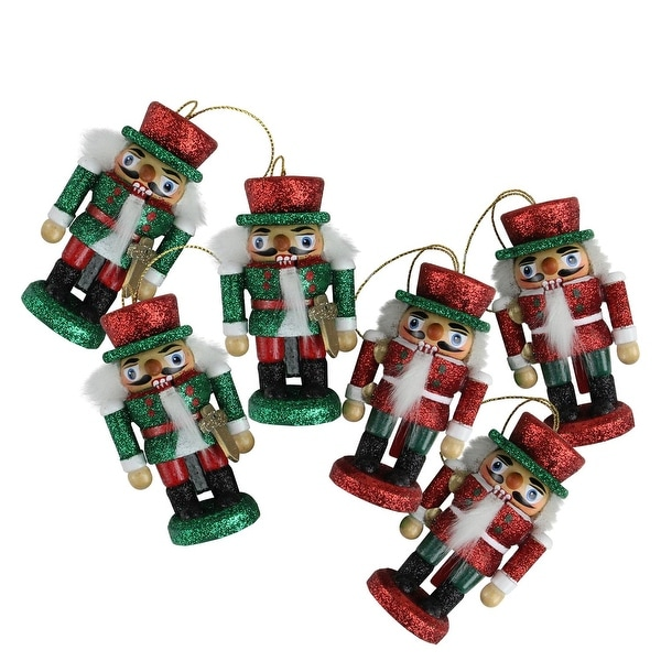 Pack of 6 Hollywood Red and Green Glittered Wooden Nutcracker Card Holder Christmas Ornaments 3""