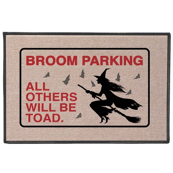 """WHAT ON EARTH Broom Parking All Others Will Be Toad Doormat - Funny Witch Pun Olefin Welcome Mat - 27"""" x 18"""" Door Mat"""