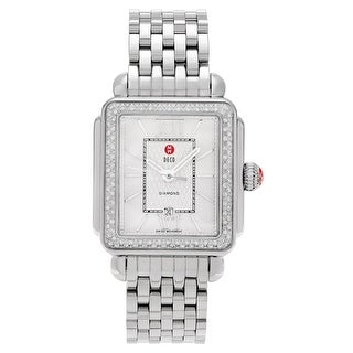 Michele Women's MWW06T000055 'Signature Deco' 3/5 CT TDW Diamond Link Watch - Silver