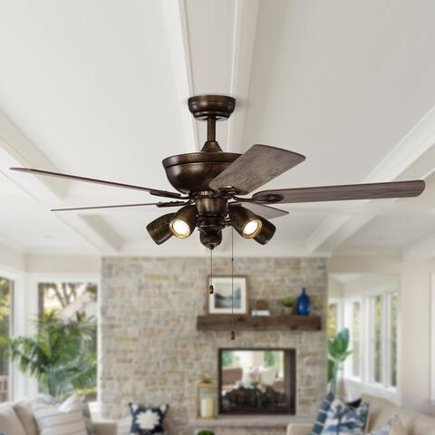 """Rustic 52"""" Iron 5-Blades Ceiling Fan with Pull Chain"""