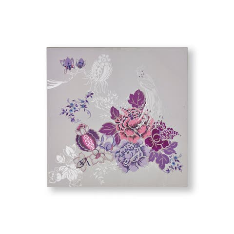 "Graham and Brown 104008 Bijou Bliss 32"" x 32"" Frameless Botanical Painting on Stretched Canvas - Purple"