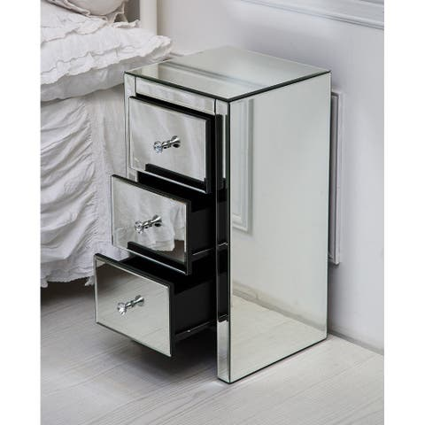 Mirrored Glass Nightstand with Three Drawers