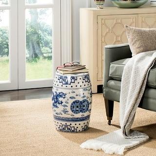 Link to SAFAVIEH Dragon's Breath Chinoiserie Blue Ceramic Decorative Garden Stool Similar Items in Outdoor Decor