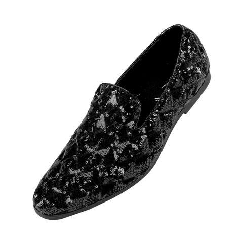 Amali Roth Sequin Metallic Diamond Pattern Slip On Smoking Slipper