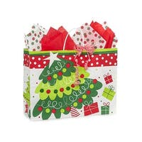 """Pack of 250, Vogue Jolly Christmas Trees Paper Bags 16 x 6 x 12"""" For Christmas Packaging, 100% Recyclable,"""