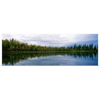 """""""Reflection of trees in a lake Alaska"""" Poster Print"""