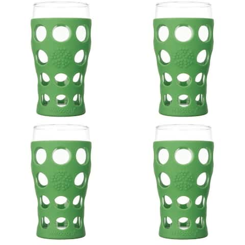 Lifefactory 340142 20oz BPA-Free Glassware with Silicone Sleeve - Green