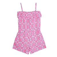 Little Girls Pink Floral Pattern Spaghetti Strap Ruffle Overlay Romper