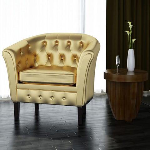 vidaXL Artificial Leather Armchairs Tub Chair Gold