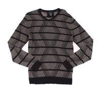 Alfani NEW Black Beige Mens Size XL Striped Chevron V-Neck Sweater