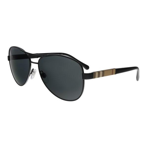 fe9b62babc91e Shop Burberry BE3080 100187 Black Aviator Sunglasses - 59-14-135 ...