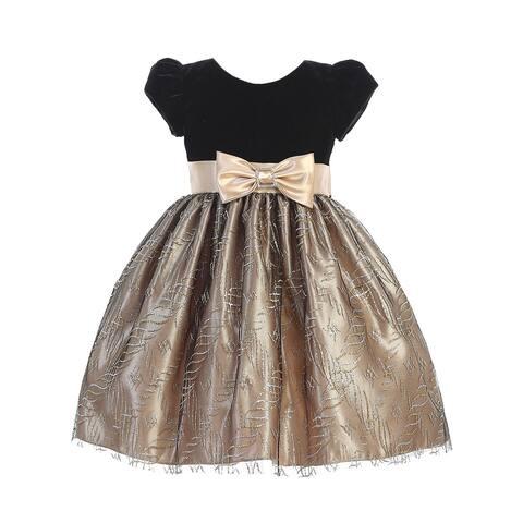 Lito Girls Black Velvet Short Sleeve Gold Sparkle Bow Christmas Dress 7
