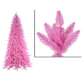 10' Pre-Lit Slim Pink Ashley Spruce Christmas Tree - Clear & Pink Lights
