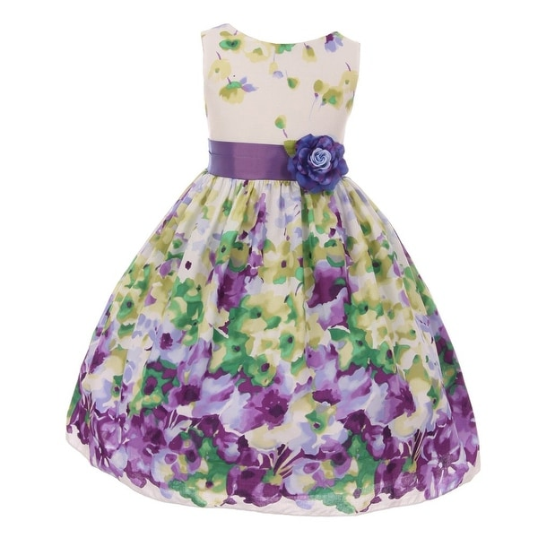 ba832acb57 Shop Kids Dream Girls Lavender Floral Print Easter Junior Bridesmaid ...