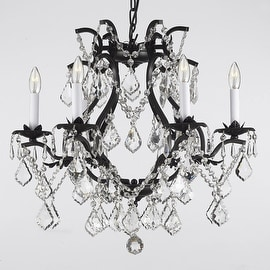 Wrought Iron Crystal Chandelier Lighting H18 x W19