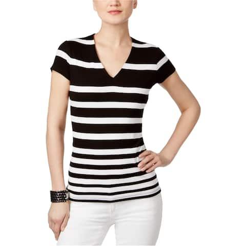 I-N-C Womens Striped Basic T-Shirt, Black, Small