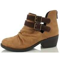 Soda Women's Verity Ruched Cut Out Side Double Buckle Side Stacked Heel Ankle Bootie - chocolate