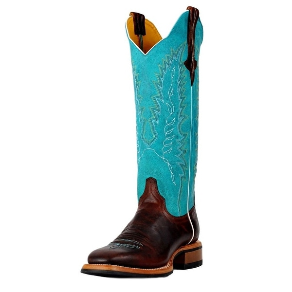 Cinch Western Boots Womens Leather Square Rubber Tan Turquoise