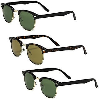 Set of 3 Pairs - Classic Clubmaster Style Sunglasses - Black & Tortoise