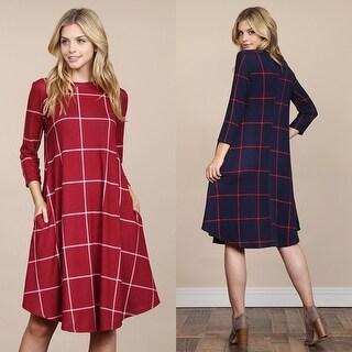 RIAH FASHION'S 3/4 Sleeved Plaid Swing Pocket Dress