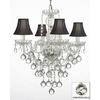 New Authentic All Crystal Chandelier Lighting With 40 mm Crystal Balls & Black Shades