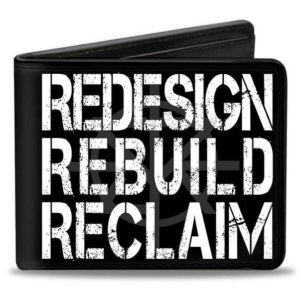 Seth Rollins Redesign Rebuild Reclaim + Tri R Logo Weathered Black Gray Bi-Fold Wallet - One Size Fits most