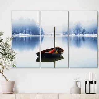 Link to Designart 'Empty Boat On Blue Lake' Lake House Canvas Wall Art - 36x28 - 3 Panels Similar Items in Matching Sets