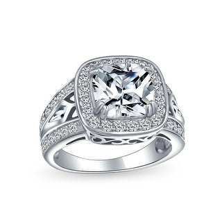 Link to Art Deco 4CT Square Cushion Cut Solitaire Pave Halo CZ Engagement Ring Similar Items in Rings