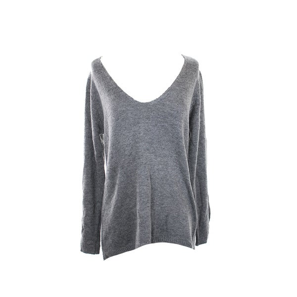 Studio M Steel Open-Stitch V-Neck Sweater M