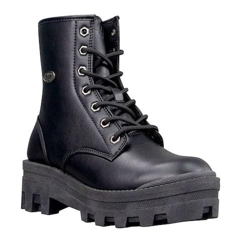 "Lugz Dutch Combat Womens Boots Ankle Mid Heel 2-3"" - Black"