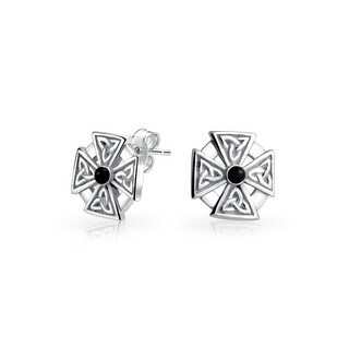 Dyed Black Onyx Celtic Knot Maltese Cross Studs 925 Silver