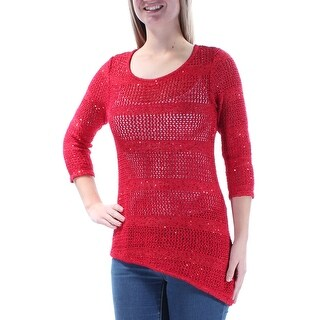 Womens Red 3/4 Sleeve Jewel Neck Sweater Size M