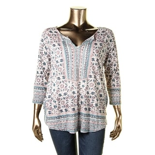 Lucky Brand Womens Plus Blouse Floral Print V-Neck