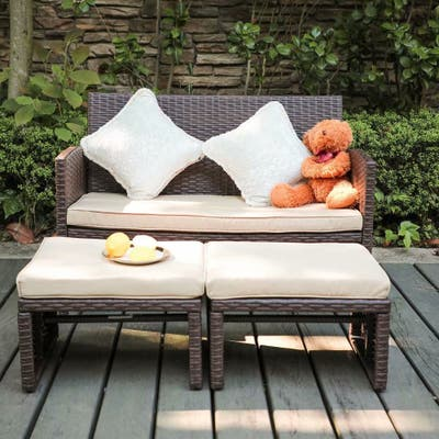 3-piece Outdoor Rattan Sofa Set with Cushions