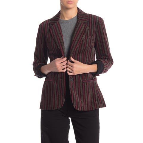 Free People Women's Blazer Black Small S B-Line Striped Notch-Collar