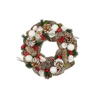 "13.5"" Frosted Pine Cone, Twigs and Berries Artificial Christmas Wreath - Unlit"